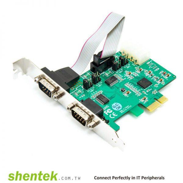 PCIe ESD 2 port RS232 Serial Card High Speed 921.6K  shentek 52001