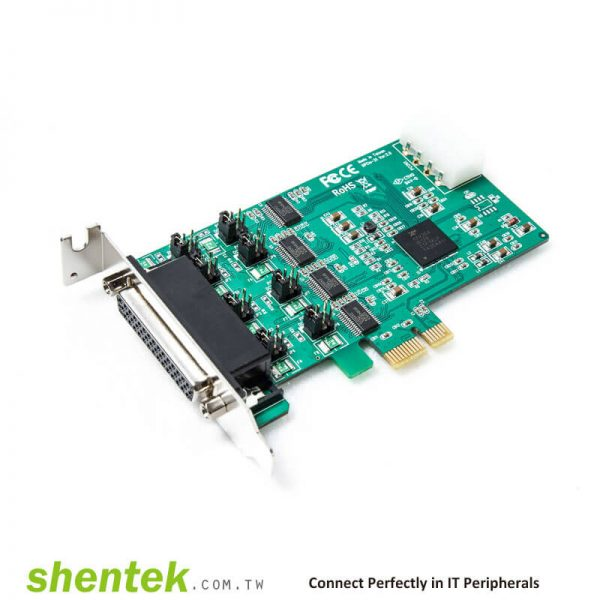 PCIe ESD 4 port RS232 Serial Card Powered I/O 5V/12V Standard Low Profile Bracket Manufactory in Taiwan 52002 shentek