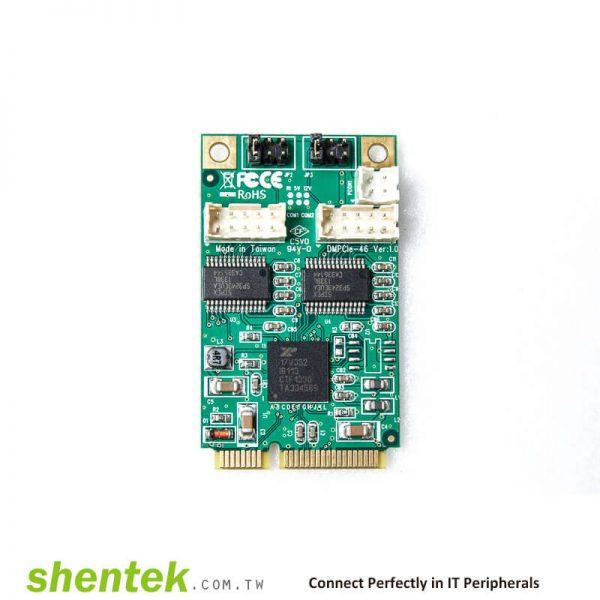 industrial embedded 2 port rs232 com port serial card mini pcie powered i o 5v 12v pin9