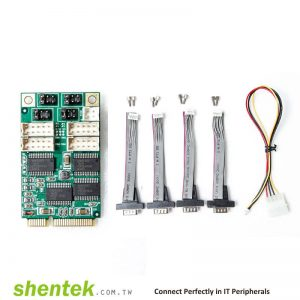 4 port High Speed Serial RS-232 Mini PCI Express(Mini PCIe) card support 5V/12V/RI Selectable