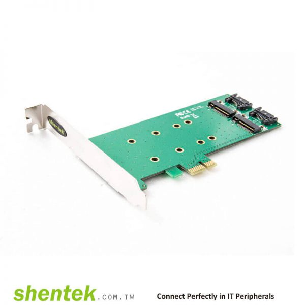 2 slot B key M.2(NGFF) Card PCI Express x 1 lanel PCIe Adapter Card. Supports Standard and Low Profile Bracket