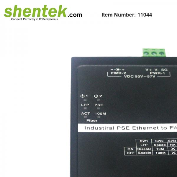 shentek-11044-10-100-ethernet-to-SFP-Fiber-Converter-PoE-PSE-Din-Rail