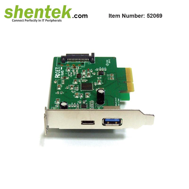 USB-C USB-A 2 port USB 3.1 USB3.1 Gen 2 10G PCIe Card Low Profile Bracket